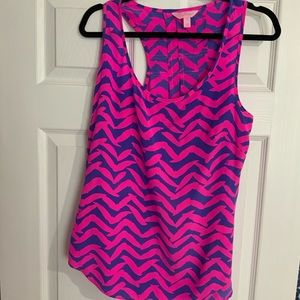 EUC-Lilly Pulitzer Alyssa Silk Racer Tank medium